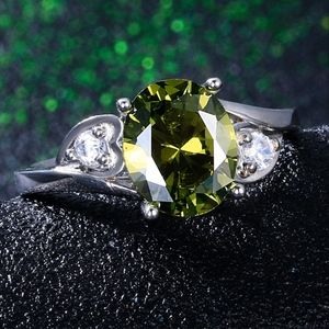 Jewelry - Peridot Green Oval CZ Sterling Silver Ring